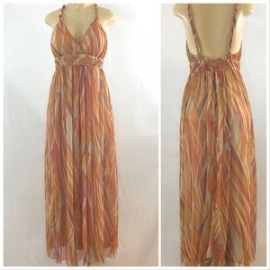London Times Chiffon Maxi Dress Orange Multi 10